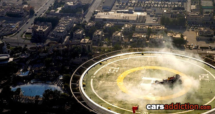 Red Bull F1 car does donuts 1000 feet in the air