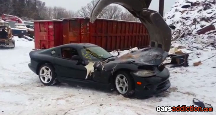 Black Dodge Viper gets Crushed